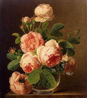 Jan Frans van Dael, Roses in a glass vase