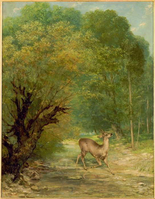 The-Hunted-Roe-Deer-on-the-Alert-Spring-by-Gustave-Courbet