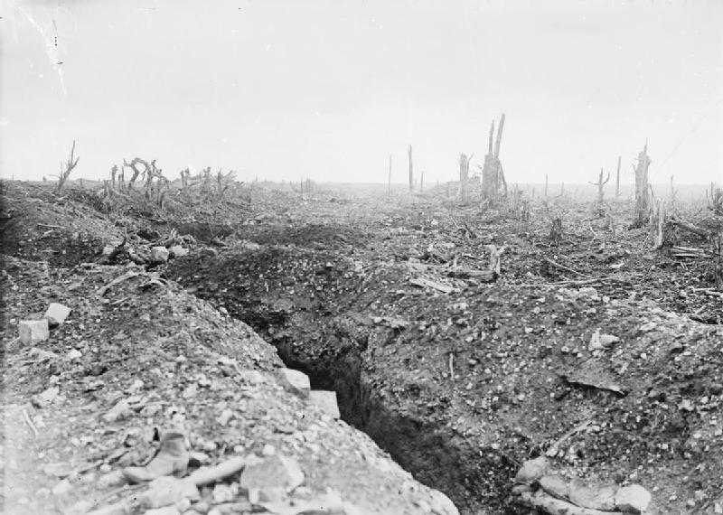 WW1 The_badly_shelled_main_road_to_Bapaume