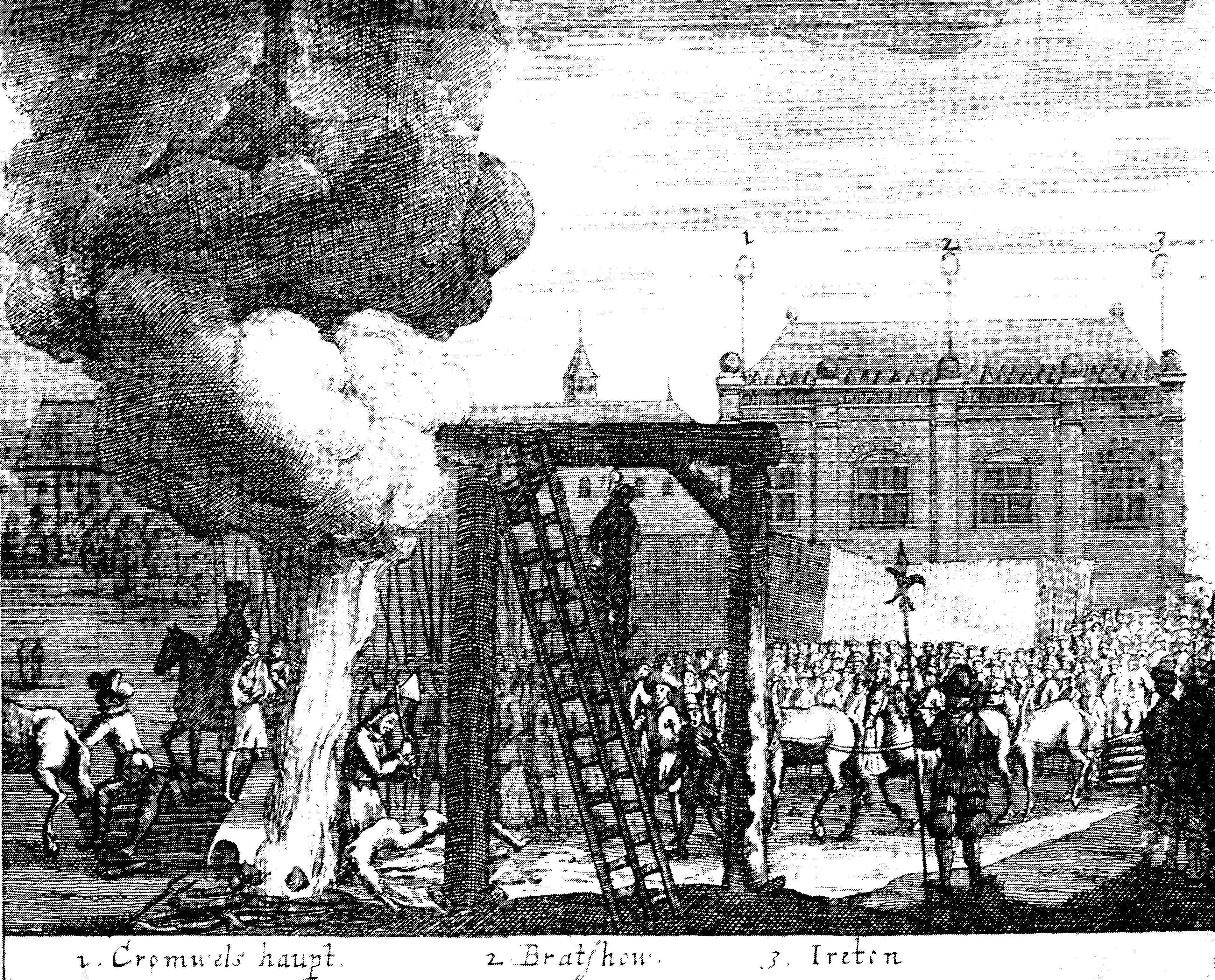 Cromwell head Execution_of_Cromwell,_Bradshaw_and_Ireton,_1661
