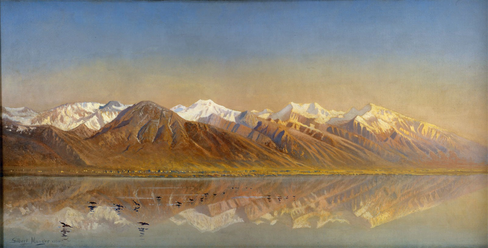 SLC Gilbert Davis Munger - Great Salt Lake Utah and the Wasatch Mountains 1880