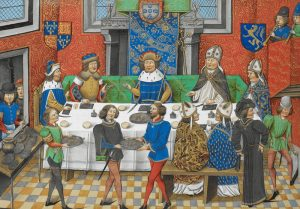 Catalina John_of_Gaunt,_Duke_of_Lancaster_dining_with_the_King_of_Portugal_-_Chronique_d'_Angleterre_(Volume_III)_(late_15th_C),_f.244v_-_BL_Royal_MS_14_E_IV