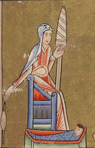 mabel Hunterian_Psalter_c._1170_Eve_spinning