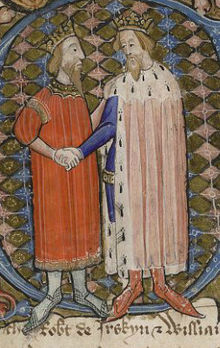 Joan David_II,_King_of_Scotland_and_Edward_III,_King_of_England_(British_Library_MS_Cotton_Nero_D_VI,_folio_66v)