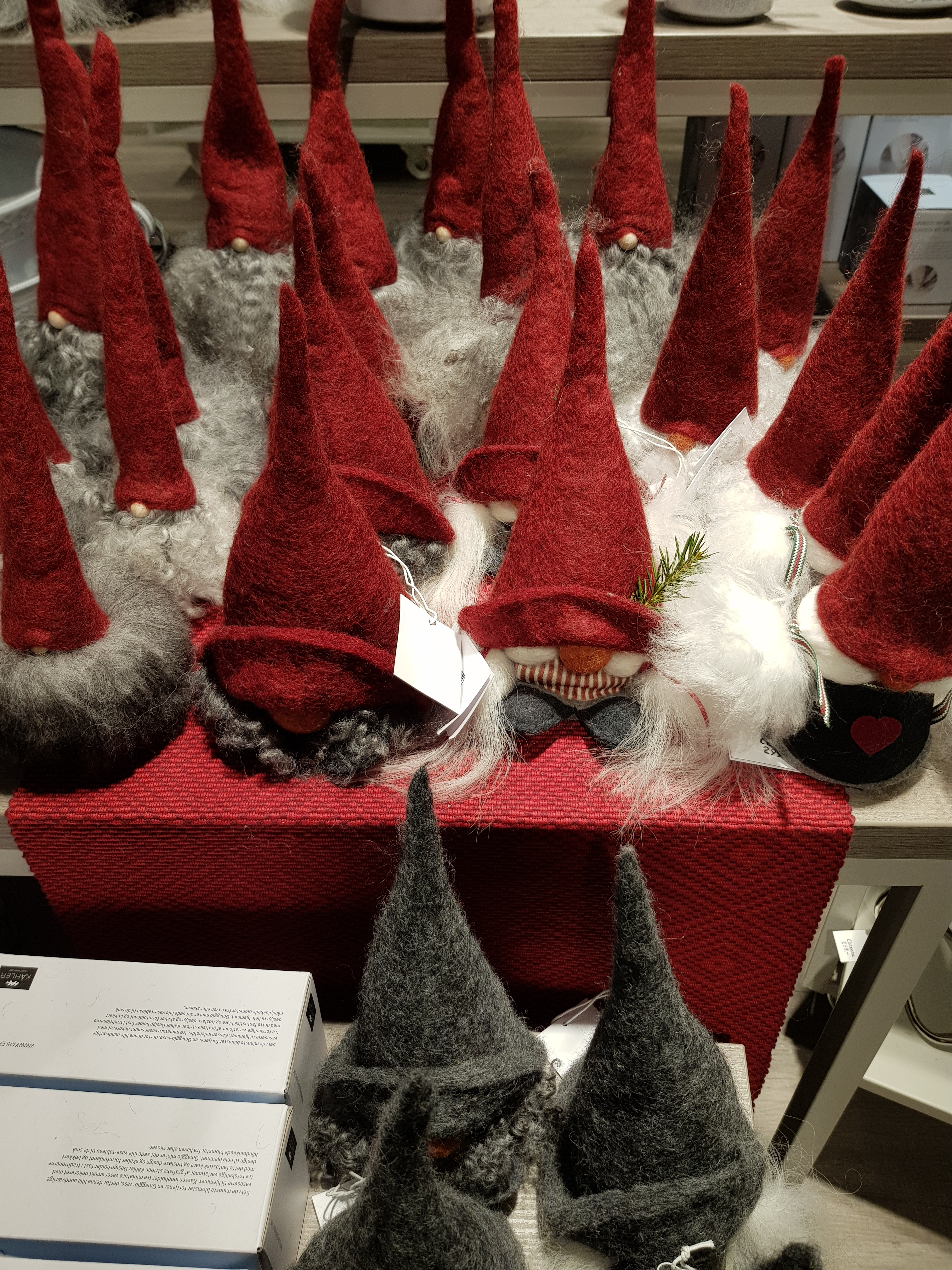 77b4f9df A whole table of woolen tomtes – Swedish somewhat more sinister version of  the Christmas elf