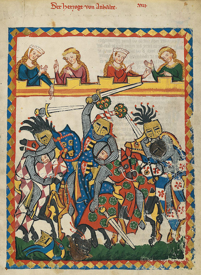 early 14th c fighting Codex_Manesse_(Herzog)_von_Anhalt