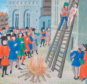 Hugh Despenser being hanged, drawn & quartered