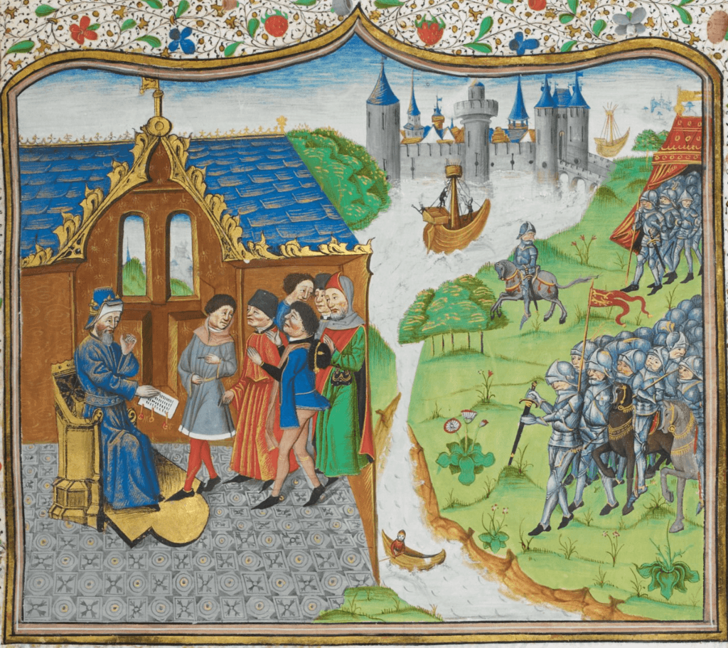 Edmund_of_Langley_remonstrating_with_the_King_of_Portugal_-_Chronique_d'_Angleterre_(Volume_III)_(late_15th_C),_f.186r_-_BL_Royal_MS_14_E